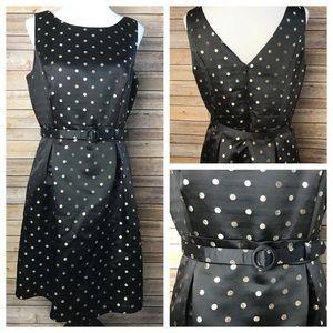 WHBM Gold Black Polka Dot A Line Belted Dress